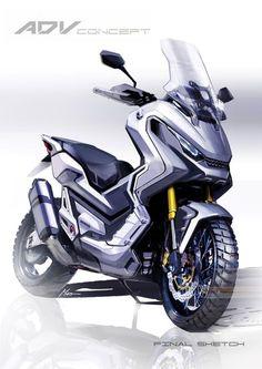 Honda X-ADV - 'a scooter, but not as we know it' - Motorhub Honda Scooters, Motos Honda, Motor Scooters, Honda Motorcycles, Cars And Motorcycles, Scooter Design, Motorbike Design, Bmx, Honda Dealership