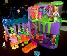 Vtg 2004 Polly Pocket Playset Dress Me Mini Mall Salon Polly's Cafe | eBay