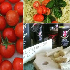 Our extra virgin olive oil from Lucca's hills and our tomatoes and basil. Simple and healty