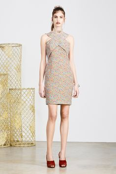 Look 23 - Multicoloured confetti print dress with a crossed chest | Alexander Lewis Pre-Fall 2014 Fashion Show