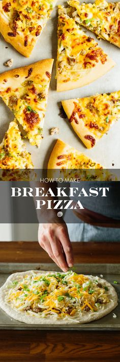Breakfast pizza is a DELICIOUS pizza topped with sausage, egg, hash browns, and cheese sauce. While you can make the entire pizza from start to finish in about an hour on a weekend morning, you can also make most of the toppings in this recipe the night before and bake this pizza up as a 30 minute meal any day of the week. Unique and fun family friendly breakfast recipe!