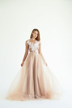 Ready to ship/ Tulle wedding gown // Brunia / Rose taupe wedding dress, lace bridal gown, long sleeve dress, winter wedding, dark wedding Tulle Wedding Gown, Bridal Lace, Bridal Gowns, Tulle Skirt Dress, Dress Lace, Taupe Wedding, Brown Wedding Dresses, Reception Gown, Dresses With Sleeves