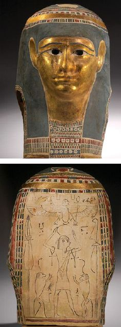 EGYPTIAN POLYCHROMED CARTONNAGE MUMMY MASK with gold face, gilded stucco diadem of raised hieroglyphics around the brow, blue tripartite headcloth, with decorated lappets, and a broad beaded collar. Fine style. Later Ptolemaic Period, 2nd-1st Century BC