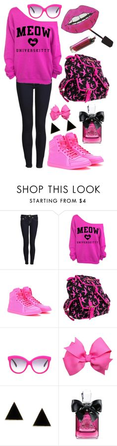 """""""Pretty casual look"""" by loveselena22 ❤ liked on Polyvore featuring True Religion, Gucci, Anna Smith, Italia Independent, Juicy Couture, casual, SWAGGY, Pink, black and CasualChic"""