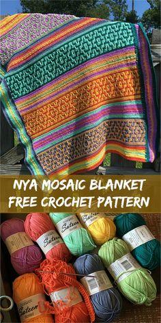 """""""Nya Mosaic"""" Crochet Blanket by Tatsiana Kupryianchyk [Free Crochet Pattern] #crochet #motif #mosaic"""