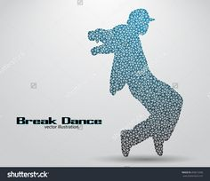 Silhouette Of A Break Dancer From Triangles. Background And Text On A Separate Layer, Color Can Be Changed In One Click. Break Dance Banco de ilustração vetorial 450613396 : Shutterstock