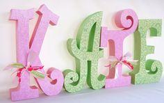 Baby Girl Custom Name Wooden Nursery Letters Pink by thepatternbag, $71.96