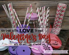 Valentine's Day Goodies, Inspiration & Printables for all of the sweeties in your life! Mason Jar Lids, Canning Jars, Mason Jar Crafts, Paper Straws, Love Valentines, Chevron, Goodies, Container, Printables