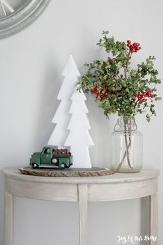 adding farmhouse charm to our home Christmas Gifts For Boyfriend, Diy Christmas Gifts, Christmas Lights, Christmas Vignette, Christmas Crafts, Christmas Decorations, Christmas Ideas, Bottle Brush Trees, Vignettes