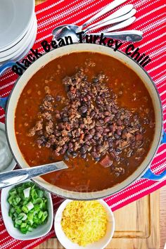 Slow Cooker Black Bean Turkey Chili Recipe - a delicious and healthy family dinner. Serve with quinoa and salad for a satisfying meal ~ http://jeanetteshealthyliving.com