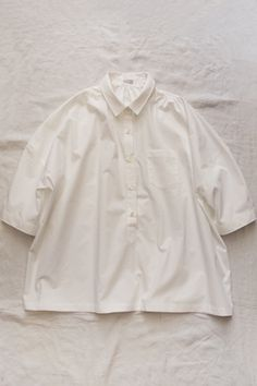 Women's Blouse - White 100% Cotton / Made in USA / Loose Fit / available in: White