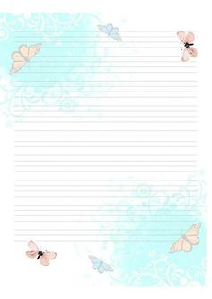 hoja con mariposas Stationary Printable, Printable Lined Paper, Journal Paper, Journal Cards, Lined Writing Paper, Papel Scrapbook, Printable Recipe Cards, Borders For Paper, Paper Frames