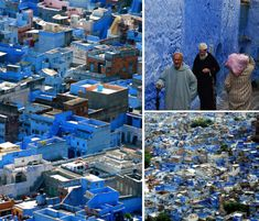Chefchaoen, Morocco, founded in 1471, was painted the powder-blue of tekhelel, a natural dye made of shellfish. In the bible, Israelites are commanded to use this dye to color one of the threads of their prayer shawl.