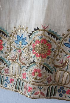 ANTIQUE OTTOMAN Floral Gold Metal Thread Embroidered Towel - Turkish Textile - $88.00 | PicClick
