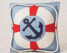 Nautical Anchor Pillow in Red, White & Blue Wool Felt, Perfect for A Nautical Nursery or Sailing The Nautical Bedding Sets, Nautical Pillows, Nautical Nursery, Nautical Anchor, Nautical Theme, Scatter Cushions, Throw Pillows, Crochet Cushions, Sailing Theme