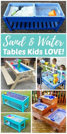 DIY Sand & Water Tables Kids LOVE! Every backyard should have at least one outdoor play space for kids. Sand and water tables are a great way for kids to have fun while staying cool in the backyard. They are primarily used for sensory play, but they can also be used for learning activities, science projects, and pretend or imaginative play. #sensory #sensoryplay #sensoryactivities #kidstoys #backyard #backyardideas #kidsactivities #outside #outdoor #kids #toddlers #preschool #kindergarten