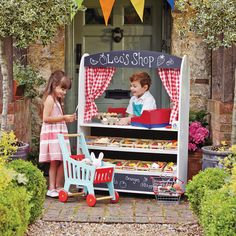 Our Play Shop & Theatre is one of our favourite role play toys. Beautiful to look at, endless play value. Theatre one side, shop, market stall, cafe or grocers the other. A unique design by gltc.co.uk