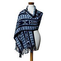 Cotton shawl, 'Maya Blues'