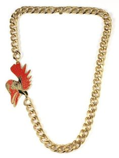 La Libertad Rooster 18K Gold Plated with Enamel Bronze Necklace La Libertad. $76.00. hand made and painted. Made in Colombia