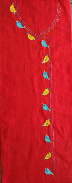 Embroidery On Kurtis, Hand Embroidery Dress, Kurti Embroidery Design, Embroidery Neck Designs, Hand Embroidery Videos, Embroidery Works, Embroidery Motifs, Silk Ribbon Embroidery, Embroidery Techniques