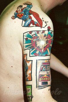 superman herz explosion bandit comic tattoo von tanina palazzolo by tanina palazzolo, via Flickr