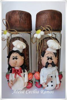Pote para Macarrão Decorado Biscuit Country Chefs