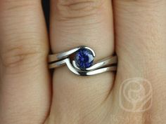 Vadim 5mm 14kt White Gold Round Blue Sapphire Single Twist Wedding Set (Other Metals and Stone Options Available)
