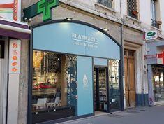 Signalétique – Enseigne Pharmacie-Lyon Stickers Vitrine, Boutique Lyon, Pharmacy, Applique Letters, Sign, Apothecary