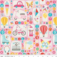 Pink Flannel Girl Crazy Cotton FLANNEL Modern by NowFabrics