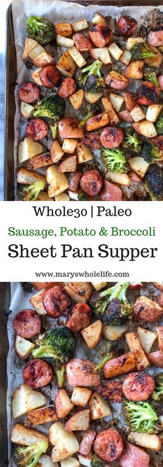 Potato & Broccoli Sheet Pan Supper A quick and easy one pan meal that the whole family will enjoy! paleo, and gluten free.A quick and easy one pan meal that the whole family will enjoy! paleo, and gluten free. Potato & Broccoli Sheet Pan Supper A Whole Foods, Paleo Whole 30, Whole Food Recipes, Diet Recipes, Cooking Recipes, Easy Whole 30 Recipes, Whole 30 Meals, Cooking Games, Cooking Bacon