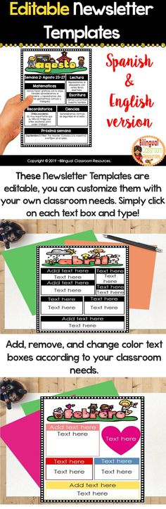 These Editable Classroom Newsletter Templates Spanish and English version are a must for your classroom. They are perfect to communicate effectively with your students' families! Perfect for grades PreK-5th. The best part is that these Newsletter Templates are editable, you can customize them with your own classroom needs.. Simply click on each text box and type! #classroomnewsletters #classroomcommunication #backtoschool #classroommanagement #recursosparaprofesoresenespañol Bilingual Classroom, Bilingual Education, Behavior Management Strategies, Classroom Management, Monthly Newsletter Template, Teaching Materials, Teaching Spanish, Classroom Activities, Teacher Resources