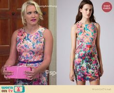 Gabi's floral fitted dress on Young and Hungry.  Outfit Details: http://wornontv.net/36678/ #YoungandHungry