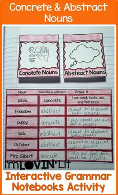 Interactive Grammar Notebooks - I'm Lovin' Lit Writing Mini Lessons, Writing Classes, Grammar Lessons, Grammar Notebook, Interactive Writing Notebook, Interactive Notebooks, Concrete And Abstract Nouns, Concrete Nouns, Grammar Activities