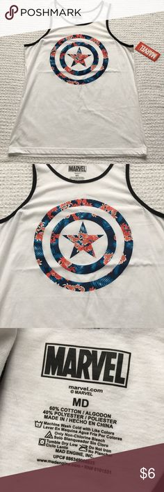 Marvel Captain America Floral Tank Men's New Unleash your inner superhero with this men's Captain America tank.   PRODUCT FEATURES 	•	Contrasting trim 	•	Crewneck 	•	Sleeveless  FABRIC & CARE 	•	Cotton 	•	Machine wash 	•	Imported  New with tags. Marvel Shirts Tank Tops