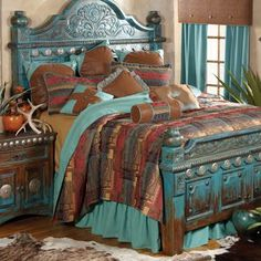 Lodge Decor-Rustic Cabin Decor-Southwestern Home Decor-Log Cabin Decor-Antler Lighting - Copper Canyon Bedding.love the bed Southwest Style, Southwestern Home Decor, Southwestern Decorating, Southwestern Bedding, Deco Ethnic Chic, Southwest Bedroom, Turquoise Bedding, Turquoise Rustic Bedroom, Turquoise Furniture