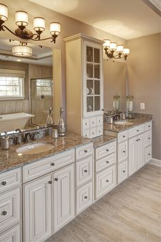 traditional master bathroom with high ceiling complex granite double sink ms international granite autumn beige - Granite Bathroom Designs