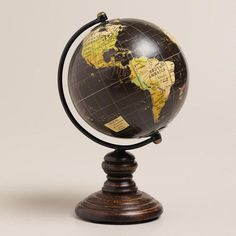 One of my favorite discoveries at WorldMarket.com: Mini Black Globe on Stand. Love this for our home office :)