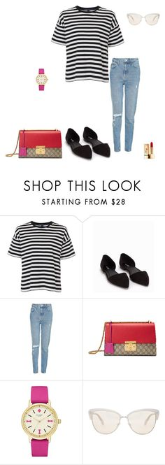"""Untitled #389"" by micha-p ❤ liked on Polyvore featuring French Connection, Nly Shoes, Topshop, Gucci, Kate Spade, Oliver Peoples and Yves Saint Laurent"