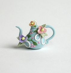 Miniature Blossoms & Loops Heirloom Blue Teapot by ArtisticSpirit, $27.50