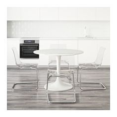 DOCKSTA / TOBIAS Table and 4 chairs, white, clear - IKEA