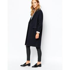 Sessun Harry Longline Coat in Navy ($430) ❤ liked on Polyvore featuring outerwear, coats, navy, navy coat, oversized wool coat, long white coat, navy blue wool coat and woolen coat