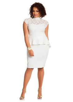Ashley Stewart Web Exclusive Pleated Lace-Top Peplum