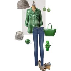 I love this green and gray outfit, except for the hat... but I love the shoes the most.