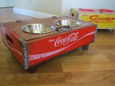 Elevated Dog Feeder Bowl Custom Fit To Their Needs Coca Cola Repurposed Coke…