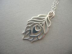 Silver Jewelry Sterling Silver Necklace Peacock by JulianaWJewelry, $34.00