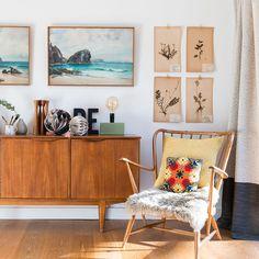 Vintage GPlan credenza/sideboard, Ercol armchair. Warm, Scandinavian living room.