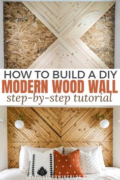 Modern Wood Accent Wall Tutorial : She shares her exact process for building this modern wood accent wall to add some fun texture to their bedroom! The super easy step by step tutorial is amazing! Pinning these modern wood wall design ideas for later! Wood Wall Design, Diy Wood Wall, Wood Walls, Wood Accent Walls, Plank Walls, Wood Art, Accent Wall Bedroom, Wood Bedroom, Master Bedroom