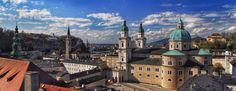 The domes and spires of Salzburg Salzburg Austria, Barcelona Cathedral, Taj Mahal, Mansions, House Styles, Building, Travel, Viajes, Manor Houses