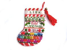 Vintage needlepoint stocking vintage Christmas by PeachNifty (just one year too early for me!)