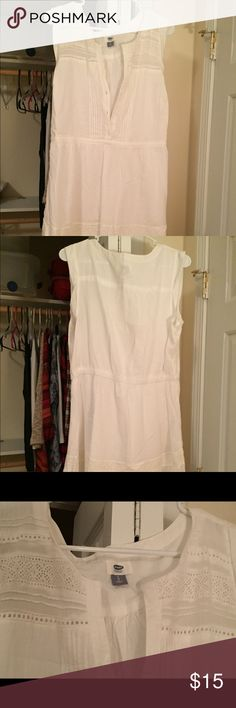 White old navy dress White tank top dress from old navy. It was wore a couple times. Great condition. Size large. The length is about to knees or past knees. Old Navy Dresses